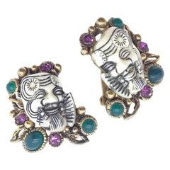 Selro Vintage Earrings 1960S White Devil Whimsical Clips