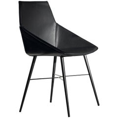Seltz CB Side and Dining Chair in Black Leather by Acerbis Design