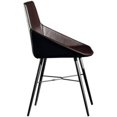 Seltz CB Side and Dining Chair in Brown Leather by Acerbis Design
