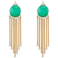 Sema Earrings, Chrysoprase and Diamond Gold Drop Earrings