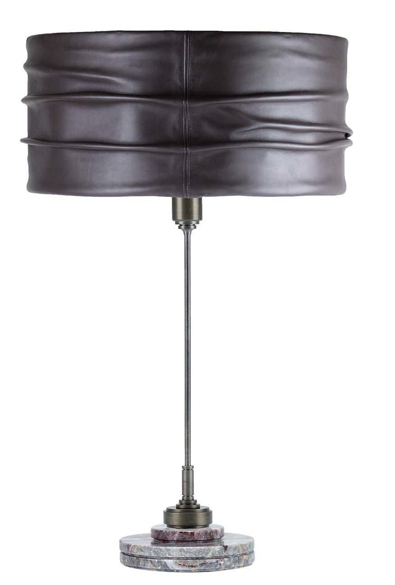 Italian Semele Steel Gray Table Lamp by Acanthus For Sale