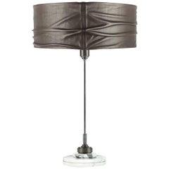 Semele Steel Gray Table Lamp with Carrara Marble by Acanthus