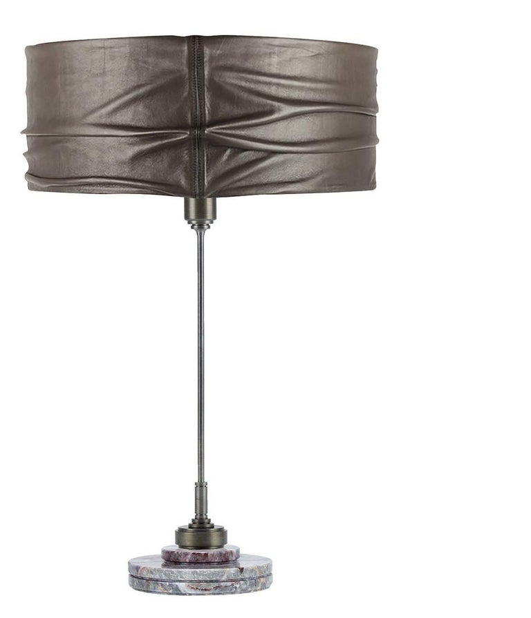 Italian Semele Steel Gray Table Lamp with Salome Marble by Acanthus For Sale