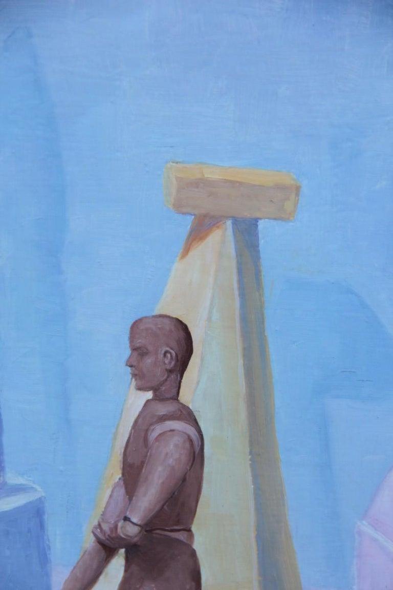 Semeraro Painter Oil on Canvas Italian Pastel Colors 1970s Metaphysical For Sale 5