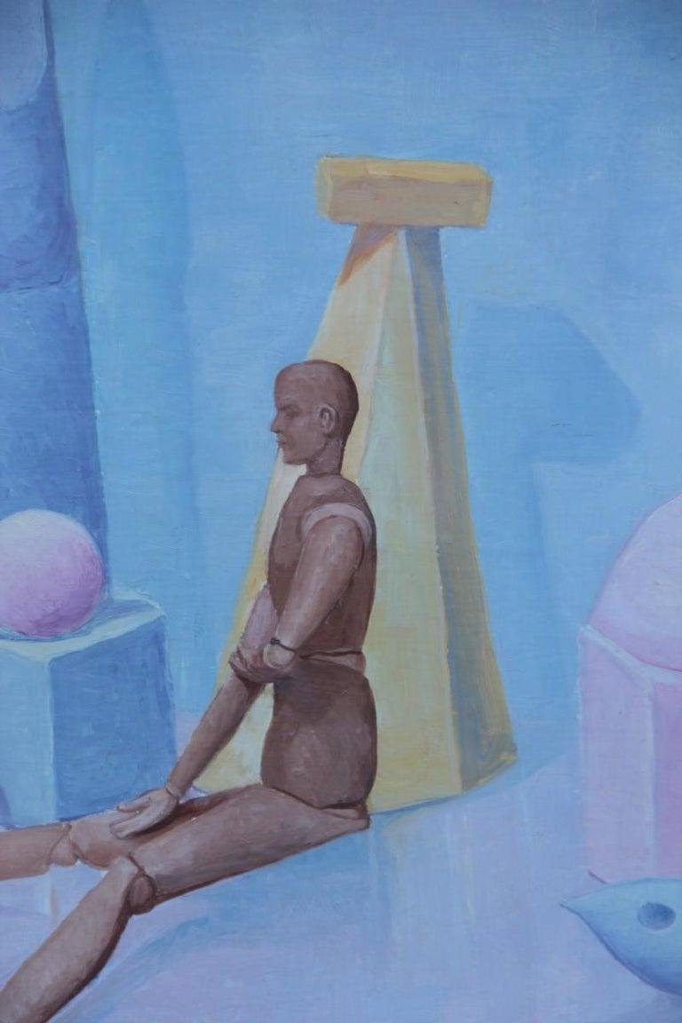 Semeraro painter oil on canvas Italian pastel colors 1970s Metaphysical, Italian artist.