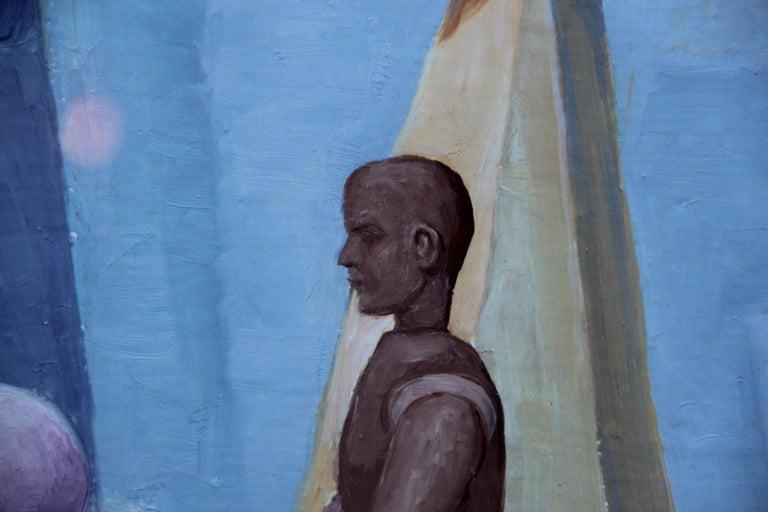 Semeraro Painter Oil on Canvas Italian Pastel Colors 1970s Metaphysical For Sale 3
