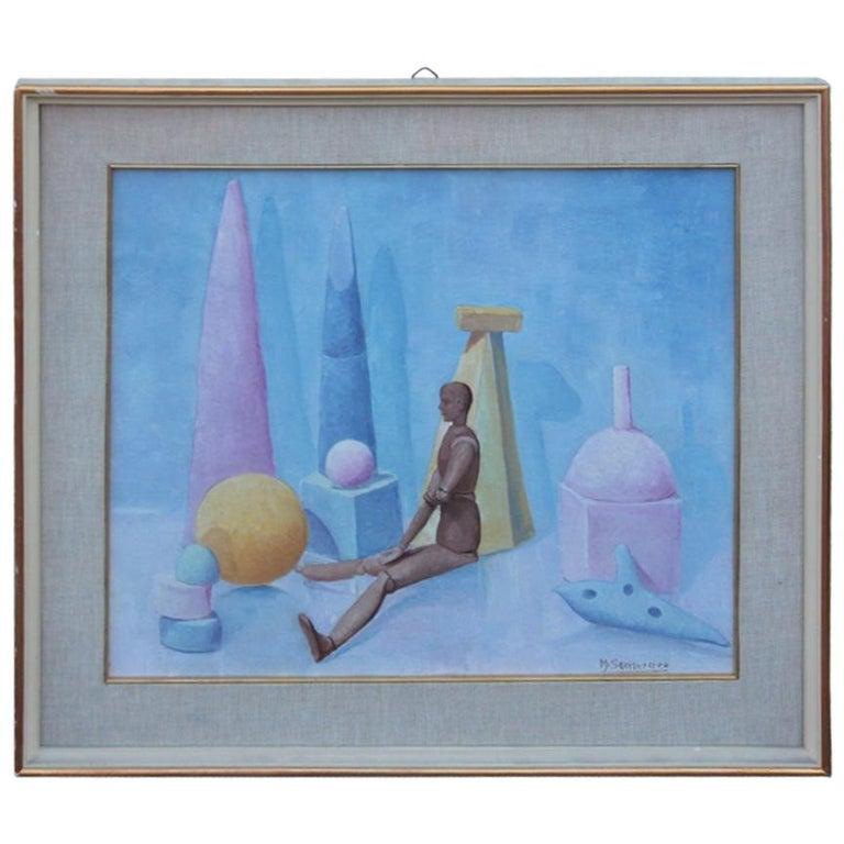 Semeraro Painter Oil on Canvas Italian Pastel Colors 1970s Metaphysical For Sale