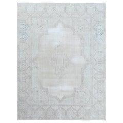 Semi Antique Beige Persian Kerman Clean Worn Down Organic Wool Hand Knotted Rug