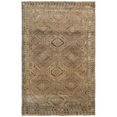 Semi Antique Brown Persian Shiraz Natural Colors Handmade Bohemian Wool Rug