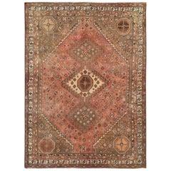 Semi Antique Coral Handmade Persian Shiraz Worn Down Bohemian Wool Rug