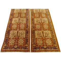 Semi-Antique English Portiere Velvet Tapestries, Turkish Work Design, Wool, 1940