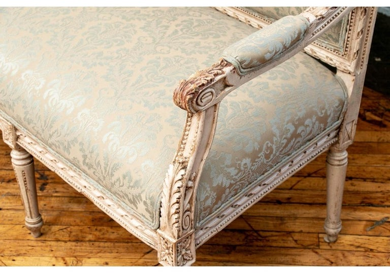 Semi Antique French Carved and Painted Sofa For Sale 2