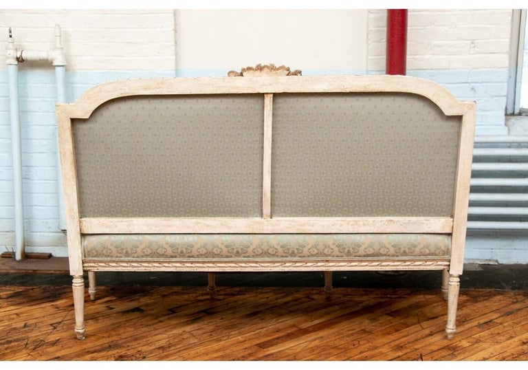 Semi Antique French Carved and Painted Sofa For Sale 3