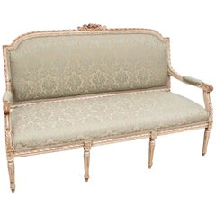 Semi Antique French Carved and Painted Sofa