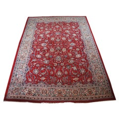Semi Antique Hand Knotted Persian Floral All over Wool Area Rug Carpet