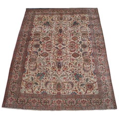 Semi Antique Hand Knotted Persian Kashan Floral All-Over Area Rug