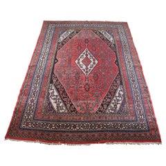 Semi Antique Hand Knotted Persian Tabriz Medallion Area Rug Carpet
