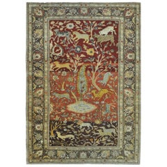 Small Semi-Antique Hand-Knotted Wool Pictorial Turkish Rug