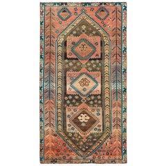 Semi Antique Handmade Persian Shiraz Distressed Wool Gallery Size Runner Rug