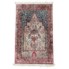 Semi-Antique Hereke, Pure Silk Signed Turkish Prayer Rug