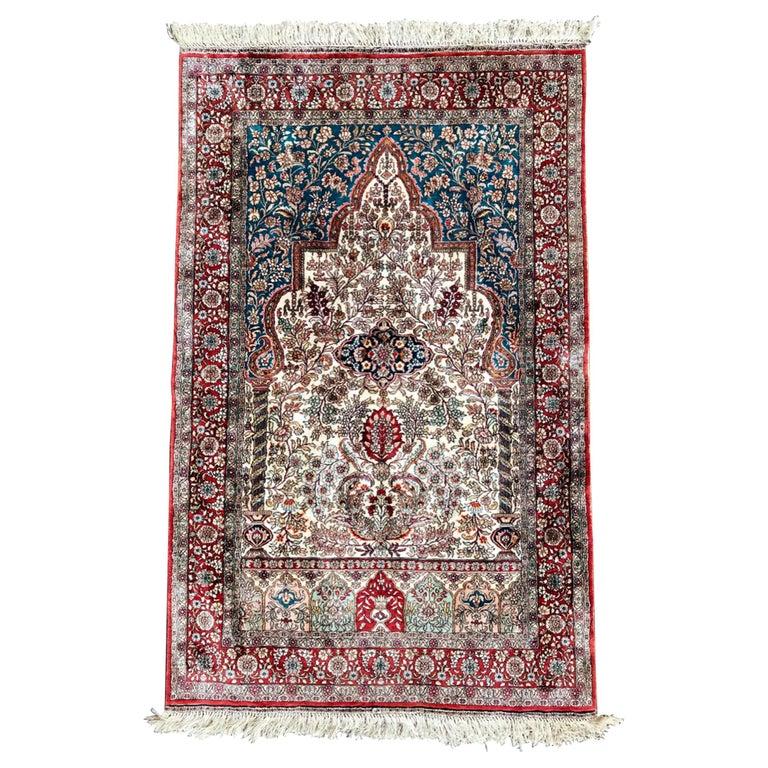 Hereke Silk Rug Youtube: Semi-Antique Hereke, Pure Silk Signed Turkish Prayer Rug