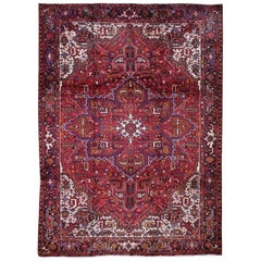Semi Antique Heriz Good Condition Wool Hand-Knotted Oriental Rug