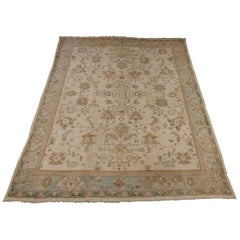 Semi-Antique Indian Agra Rug, Ivory Colored, Wool, 1920