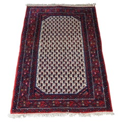 Semi Antique Iran Hand Knotted Senneh Wool Area Rug Mat Carpet Red