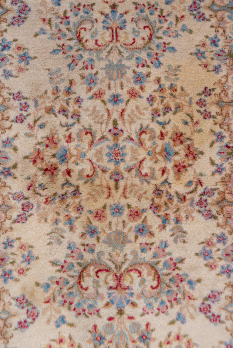 This full pile SE Persian runner with an ivory ground, broken border and tones of warm red, powder blue, light blue, rust and goldenrod displays vases and flowers alternating with pure flower groups. The dyes are all natural on this airy carpet