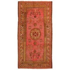 Semi Antique Khotan Transitional Pink and Golden-Brown Wool Rug
