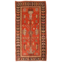Semi Antique Khotan Transitional Red and Brown Geometric Wool Rug