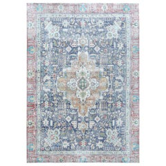 Semi Antique Navy Blue Persian Tabriz Distressed Look Hand Knotted Pure Wool Rug