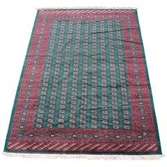 Semi Antique Pakistan Bokhara Wool Area Rug Geometric Emerald Green Signed 10 x