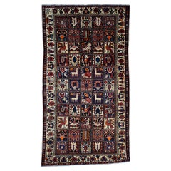 Semi Antique Persian Bakhtiari Garden Design Wide Runner Hand Knotted Rug