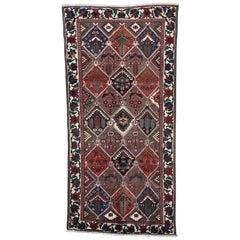 Semi Antique Persian Bakhtiari Garden Design Wide Runner Rug