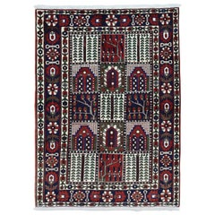 """On Clearance Semi Antique Persian Bakhtiari Mint Cond Hand-Knotted Carpet, 5'2"""""""
