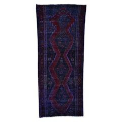 Semi Antique Persian Hamadan Overdyed Vintage Wide Runner Rug