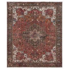 Semi Antique Persian Heriz Cropped Thin Organic Wool Handmade Rug