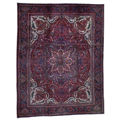Semi Antique Persian Heriz Flower Design Good Cond Hand Knotted Rug
