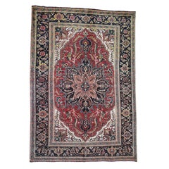 """Semi Antique Persian Heriz Some Wear, Clean Hand-Knotted Oriental Rug, 6'4"""" x 9'"""