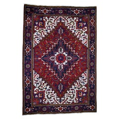 Semi Antique Persian Heriz Thick And Plush Hand Knotted Oriental Rug