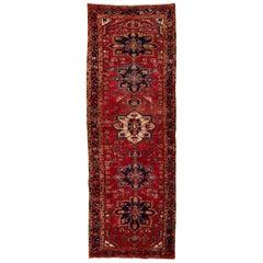Semi Antique Persian Heriz Tribal Design Runner