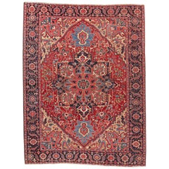 Semi Antique Persian Heriz Wool Rug