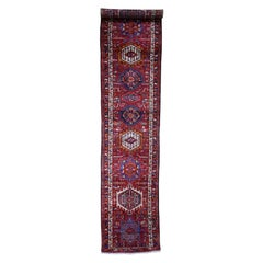 Semi Antique Persian Karajeh Pure Wool Runner Hand Knotted Rug