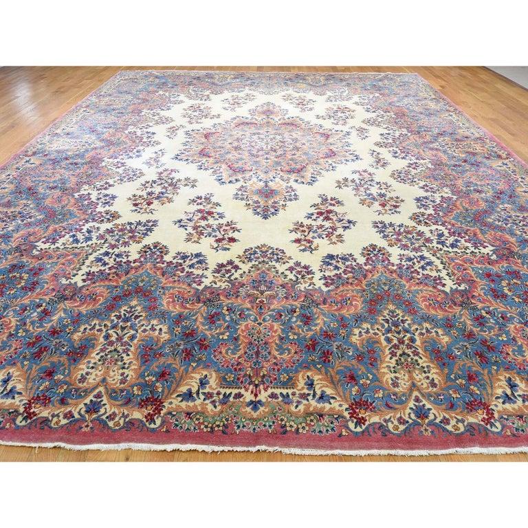 Kirman Semi Antique Persian Kerman Full Pile Soft Oversize Rug For Sale