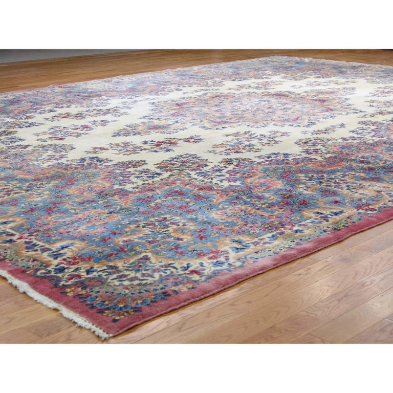 Indian Semi Antique Persian Kerman Full Pile Soft Oversize Rug For Sale