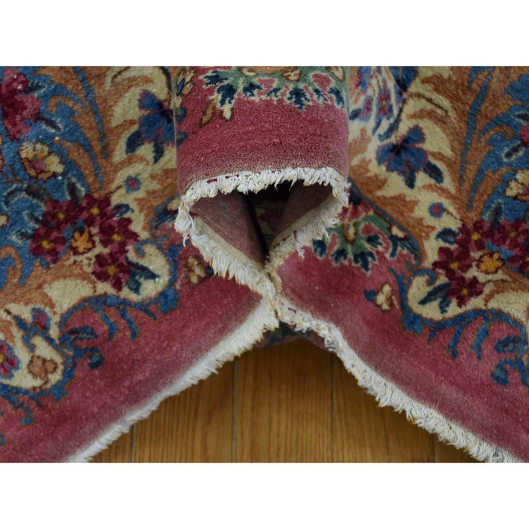 Semi Antique Persian Kerman Full Pile Soft Oversize Rug In Good Condition For Sale In Carlstadt, NJ