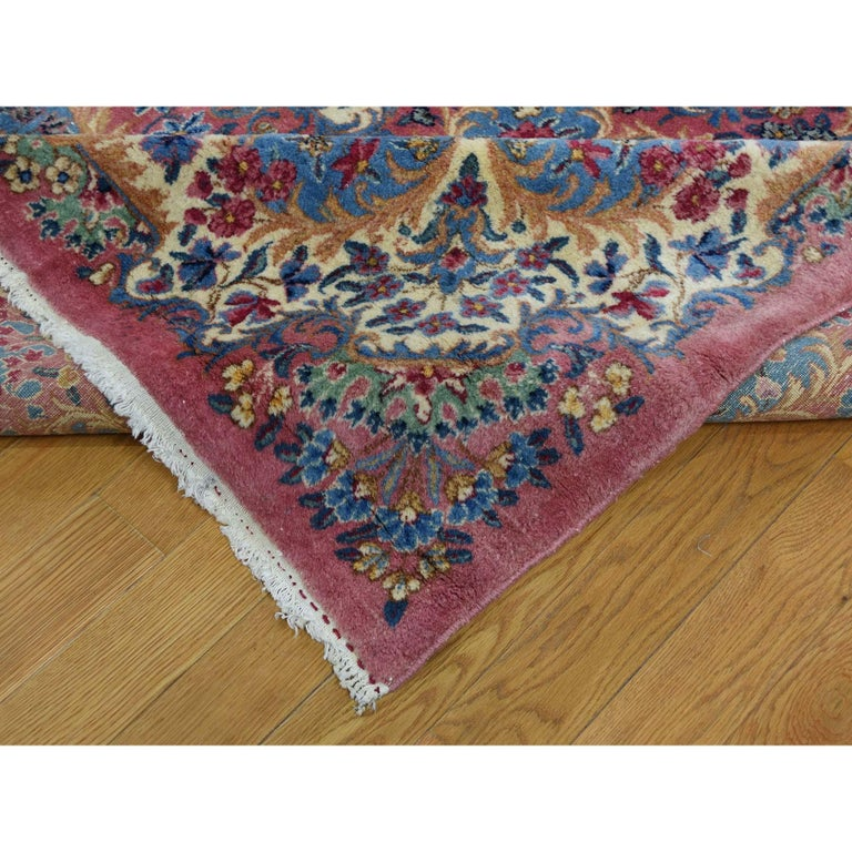 Mid-20th Century Semi Antique Persian Kerman Full Pile Soft Oversize Rug For Sale