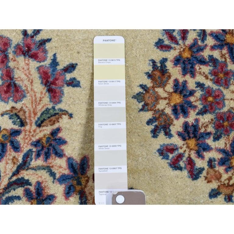 Wool Semi Antique Persian Kerman Full Pile Soft Oversize Rug For Sale