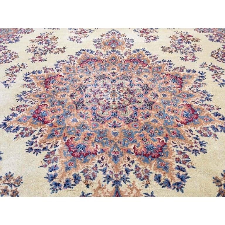 Semi Antique Persian Kerman Full Pile Soft Oversize Rug For Sale 1